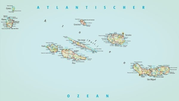 Azoren Karte.Allgemeine Informationen