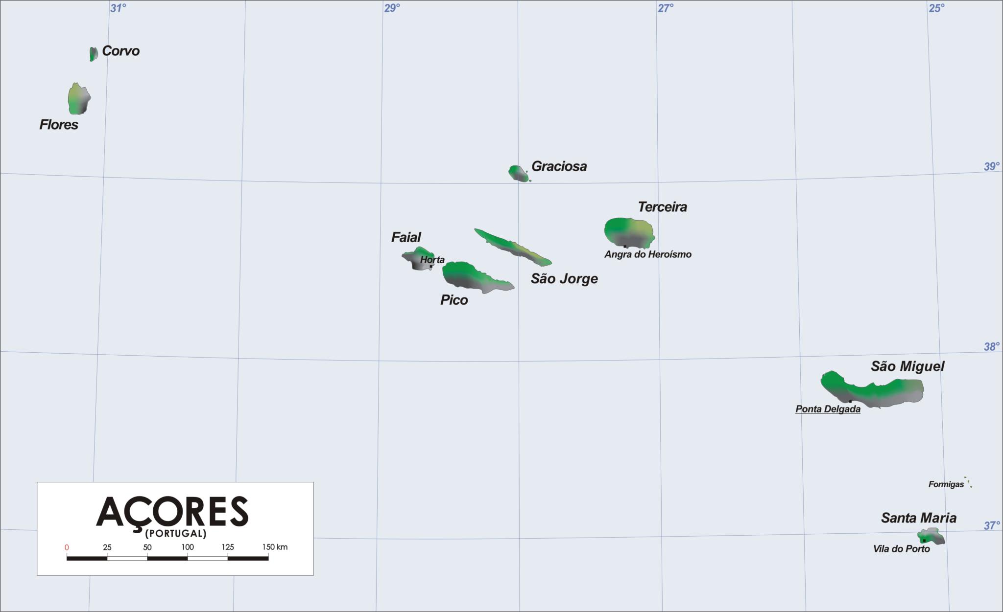 Azoren Karte.9 Inseln Der Azoren